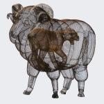 Patagonia lof & lodge. 2012. Hierro desplegado y tela metálica.  200 x 110 x 160 cm.