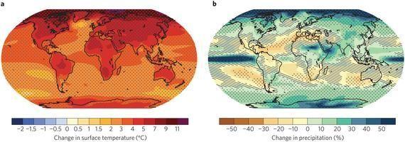 Figura 2 – Representações das mudanças globais na temperatura e na precipitação produzidas por modelos do IPCC. | Fonte: Painel Intergovernamental de Mudanças Climáticas, Fifth Assessment Report (IPCC AR5), 2014.