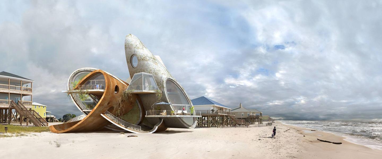 """""""Dauphin Island"""" é um ensaio fotográfico de 2011 em que o artista Dionisio González imagina habitações de ferro e concreto ao invés de madeira no que parece ser uma mistura de espaçonaves e casas de praia na Ilha de Dauphin, no Golfo do México. Disponível em:http://www.dionisiogonzalez.es/"""