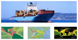 Figura 1 - Densidades de trânsito e rotas de comércio naval. Fonte: Arquivo pessoal