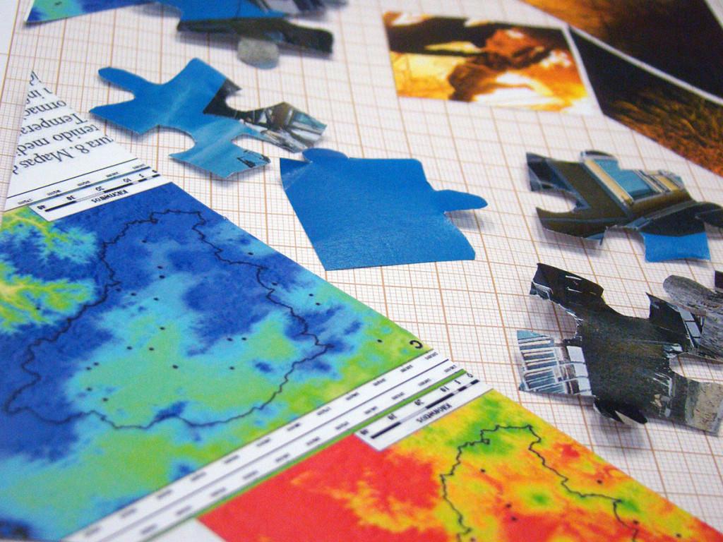 Imagem produzida durante a oficina Cenários especulativos: fazendo do território uma mesa de trabalho - Como fazer passar o Cosmos por um mapa. Rasgar quebra-cabeças impossíveis, realizada com alunos do mestrado em Divulgação Científica e Cultural (Labjor-IEL, Unicamp) em abril de 2016.
