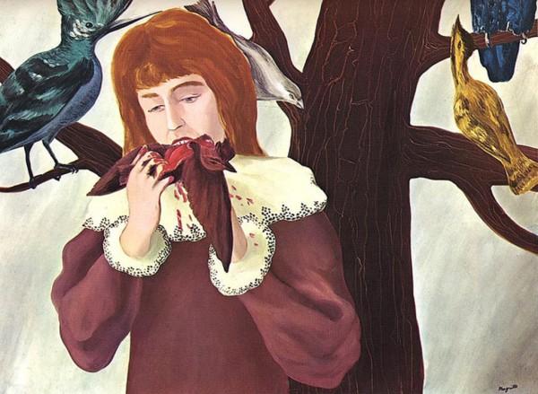 """(""""A menina comendo pássaro"""", Renne Magritte, 1927.  Óleo sobre tela, 74x97 cm, Alemanha)"""