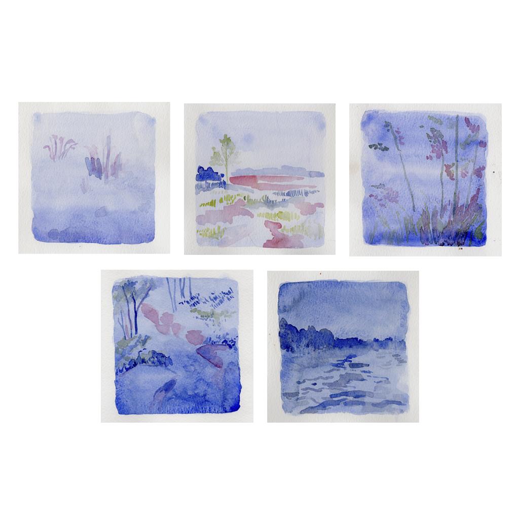 10 Serie de aquarelas Gabriela CunhaAquarela sobre papel 14 x 14 cm 2019